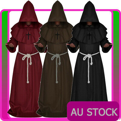 Mens Monk Costume Brown Black Medieval Friar Hooded Robe Renaissance Halloween