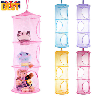 3 Tiers Cylindrical Hanging Storage Net Wall Door Cabinet Kids Toy Organizer #UK