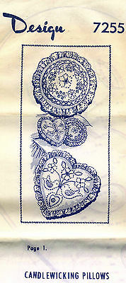 1940's VTG Candlewicking Pillows Embroidery Transfer Pattern Design 7255