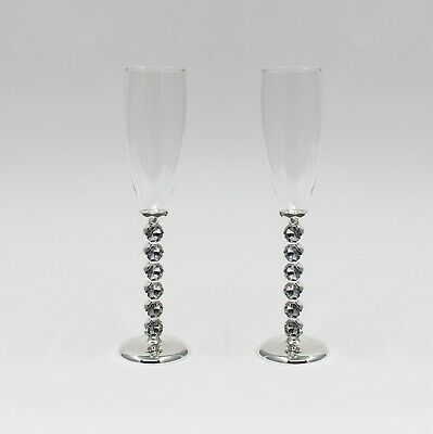 Wedding Engagement Toasting Champagne Glasses (Pair) - Silver w Large Diamantes
