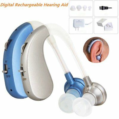Digital Hearing Aid Rechargeable Voice Amplifier Adjustable Behind Ear Sound NEW