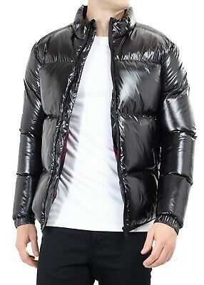 Men's High Shine Wet Look Matallic Puffer Padded Bomber Jacket Quilted Coat Blac