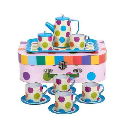NEW Cocomotion Coffee Spot Kids Tin Tea Set in Carry Case 15pc
