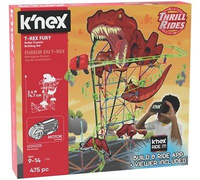 K'NEX T-Rex Fury Roller Coaster Building Coaster Track, Coaster Car And Set NEW