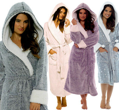 Ladies Luxury Shimmer Fleece Soft & Cosy Hooded Dressing Gown Robe