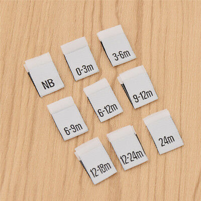 100 Pcs Handmade Size Labels for Baby Clothings Clothes Garment Polyester Tages