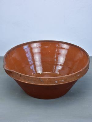 Late 19th Century French terracotta bowl with brown glaze