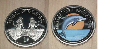 1998 Palau Large Color  $1 Dolphin/Bare-breasted Mermaid