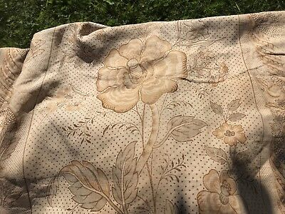 """Antique Arts Crafts French Linen Fabric panel c1900 Faded Grandeur 50""""/ 100"""""""