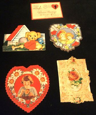 5 Vintage Antique Valentine Cards from the 1930's 1940's
