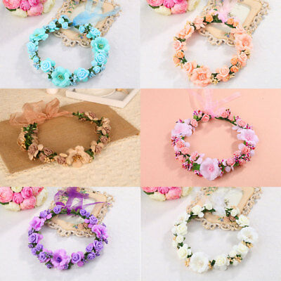 Korean Fashion Women Crown Flower Headband Wedding Bridal BOHO Hair Accessories