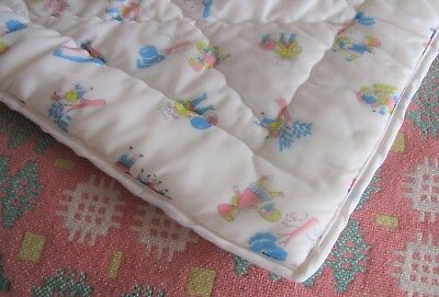 Vintage Cot Quilt/Play Mat VGC Cute Characters VGC Nursery Kids Room Gift Pretty