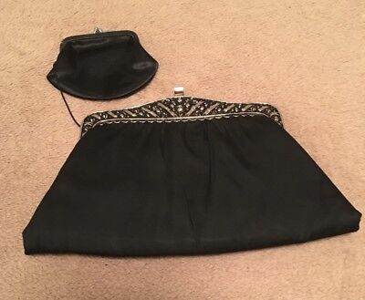 1950s Vintage After Five Silk Black Clutch Purse With Attached Coin Purse