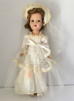 Vintage Walker Doll FairyLand Toy Prod. Composition, Sleepy Eye, Wedding Dress