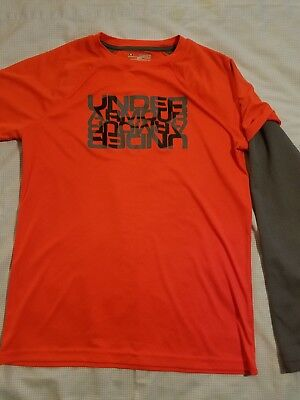 Under Armour Youth XL Orange And Gray  Long Sleeve Shirt