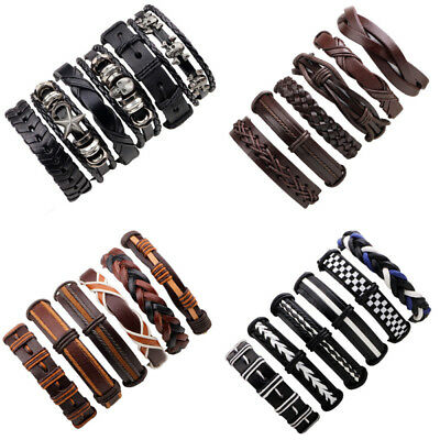 6PCS Men Women Fashion Stretch Multi Row Leather Bracelets Surfer Wristband Gift