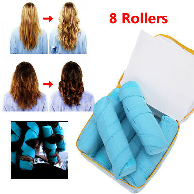 8 Rollers Dry Hair Curler Water Absorption Spongy Roll Hair Stick Sleep Curler