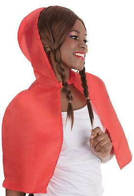 New Ladies Red Riding Hood Cape Short Hooded Cloak Fairytale Fancy Dress Costume
