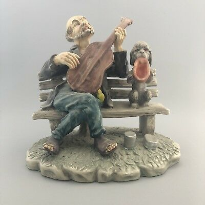 Vintage Large Pottery Figurine Tramp on a Bench Playing Guitar with Begging Dog