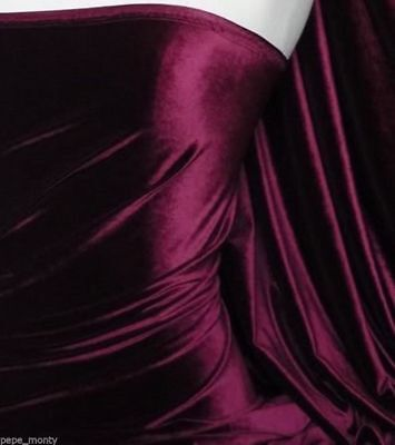 PM Soft Stretch Velvet Velour  Fabric In Burgundy Wine Perfect Christmas Colour