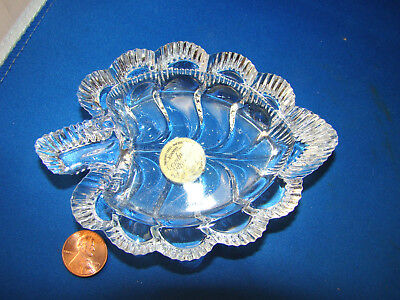 Cristal D'Arques 24% Lead Crystal Leaf Shaped Small Ashtray  @3