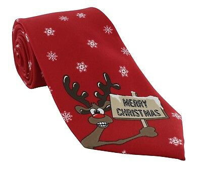 Michelsons UK - Red Merry Christmas Polyester Tie