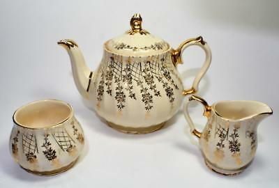 50s SADLER England Gold Decor Swirl Body Set Teapot Creamer Sugar Bowl #7406