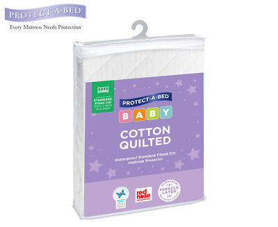 Protect-A-Bed Quilted Cotton Fitted Cot Mattress Protector - White