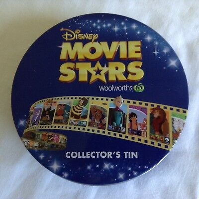 Woolworths Disney Movie Stars Collector's Tin + Full Set Of Stickers