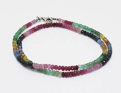 """Natural Multi Precious Sapphire Faceted Gemstone Bead 20"""" Necklace silver Clasp"""
