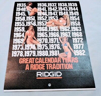 VIintage 1981-1982 Ridgid Tool Advertising Calendar Pin Up Girls & Tools