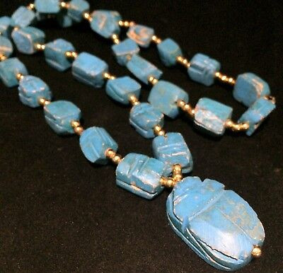 Egyptian Revival Carved Blue Faience Stone Scarab Necklace Gold Tone Beads 818m