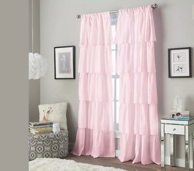 CHF & You Flounce Girls Solid Bedroom Window Curtain Panel Pink 42x63 Inch NEW