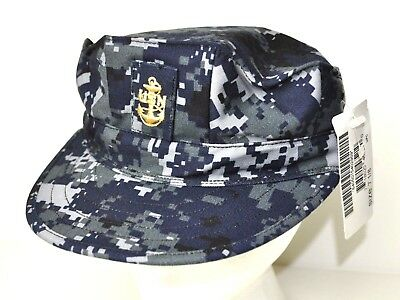 US Navy Issued NWU Type I Blue Utility Cap / Working Hat Size 7 1/8 with Rank