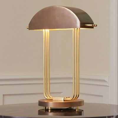 """20.25"""" Tall Arc Deco Table Lamp Brass Bronze Brushed Finish Two Tone"""