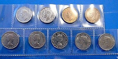 Canadian WW2 + Korean War Canada 9 nickels + 5 FIVE cents tombac set