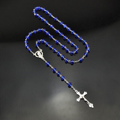 Women Men Catholic Cross Silver Crystal Rosary Necklace Navy Blue  Prayer Beads
