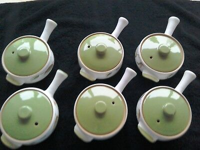 Set of 6 x Denby SPRING Individual lidded casseroles handled soup bowls VGC