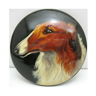Russian Wolfhound Borzoi LARGE Hand Painted Lacquer Brooch Pin