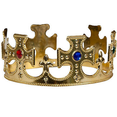 New Adults King & Queen Royal Gold Nativity Majestic Crown Fancy Dress Accessory