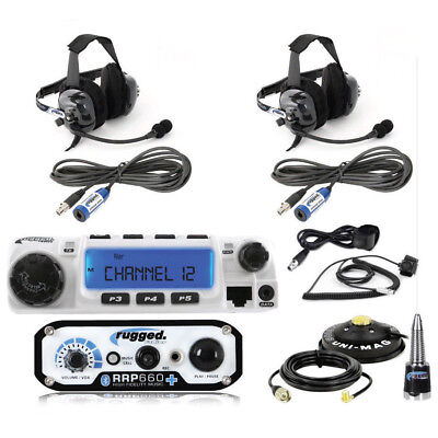 2 Place Race System RRP660PLUS Intercom RM60 VHF Two Way Mobile Radio 2 Headsets