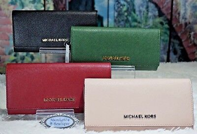 NWT MICHAEL KORS JET SET Travel Carryall Wallet In VARIOUS Colors Leather $178