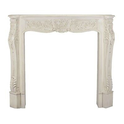 Large Ivory Colour Architectural/Antique Aged Mahogany/Carved Fire Surround