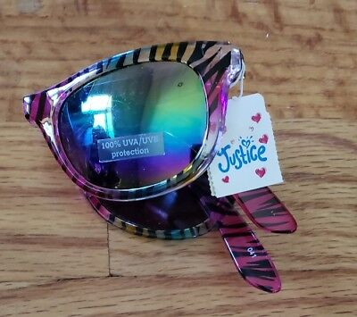 Girl Justice Foldable Multi Color Zebra Print Sunglasses 100% UVA UVB Protection