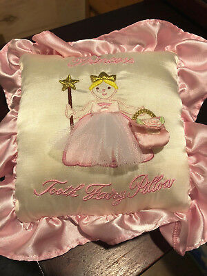 Girls Princess Tooth Fairy Pillow - Pink and White - Roughly 10 x 10
