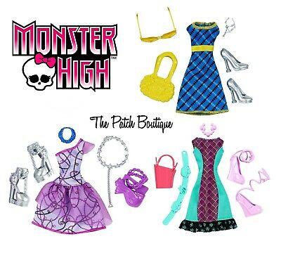 Monster High Fashion Pack Lot 4 Outfits Draculaura Spectra Lagoona Frankie