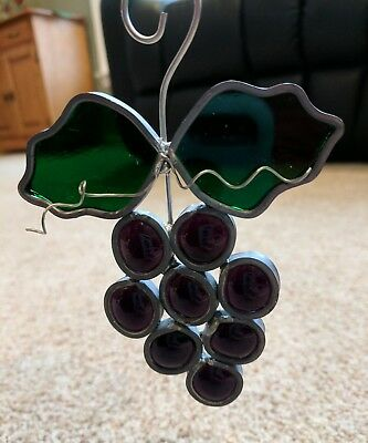 Tiffany Stained Glass Purple Grapes Sun Catcher Collectors Society Hand Crafted