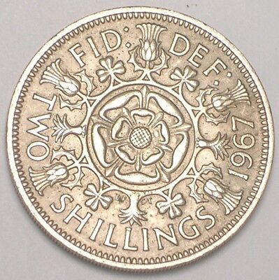 1967 UK Great Britain Two 2 Shillings Double Rose Coin VF+