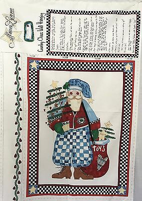 """Cotton Quilt Fabric Christmas Country Claus Wall Hanging Alma Lynne 29"""" x 44"""""""
