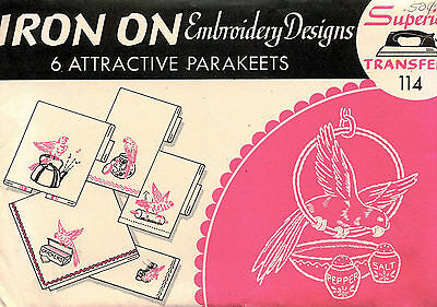 1960's VTG 6 Attractive Parakeets Embroidery Transfer Pattern 114